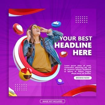 Social media post banner vorlage mit 3d objekt rendering premium psd
