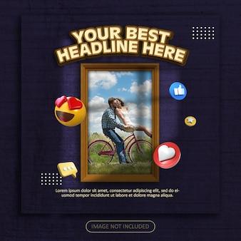 Social media post banner vorlage mit schattenüberlagerung Premium PSD