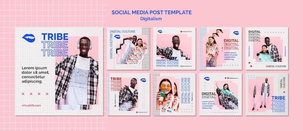 Social media post der digitalen kultur des jungen mannes und der frau
