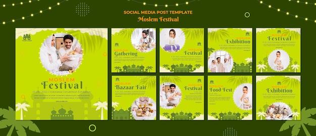 Social media post des muslimischen arabischen festivals