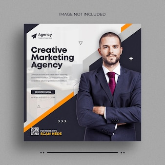 Social-media-post einer agentur für digitales marketinginstagram-post-webbanner oder facebook-cover-vorlage