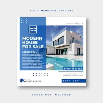 Social-media-post für immobilien oder quadratische webbanner-werbevorlage