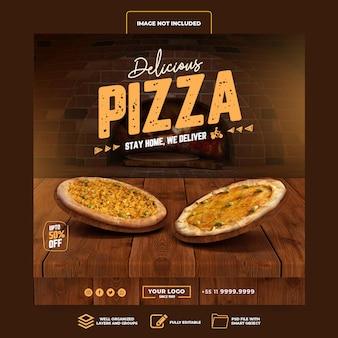 Social media post instagram leckere pizza bis zu 50 prozent 3d-rendering