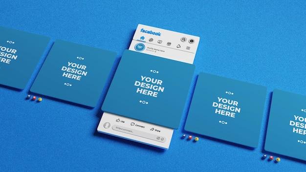 Social media post-modell auf 3d-facebook-oberfläche