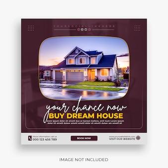 Social-media-post oder quadratische bannervorlage für immobilienhaus