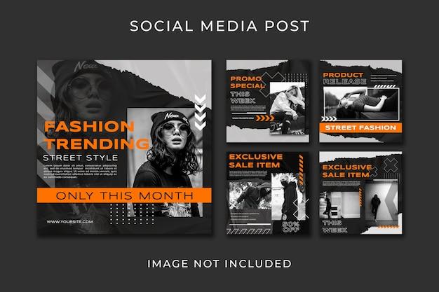 Social media post set urban style vorlage