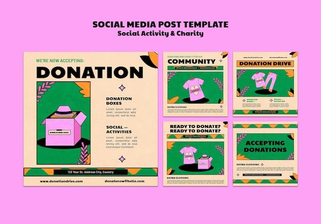 Social media post template design für wohltätigkeitsspenden