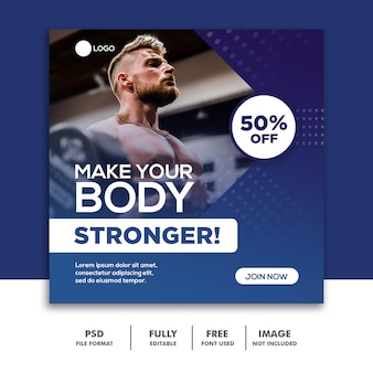 Social media post template fitnessstudio