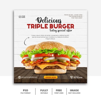 Social media post vorlage banner für restaurant fastfood menü burger