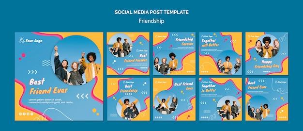 Social-media-post-vorlage des freundschaftskonzepts