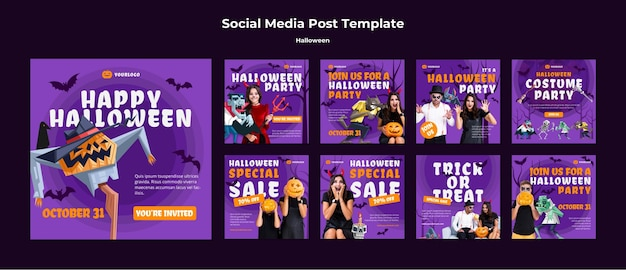 Social-media-post-vorlage des halloween-konzepts