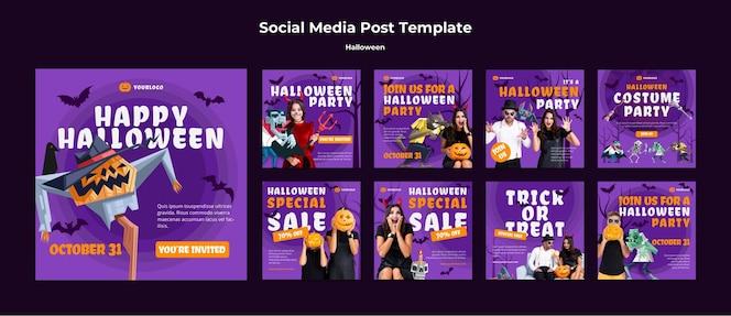 Social-media-post-vorlage des halloween-konzepts