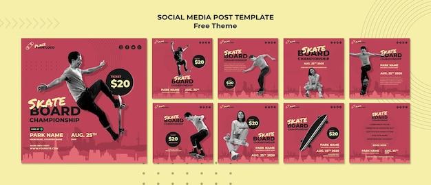 Social-media-post-vorlage für das skateboard-konzept