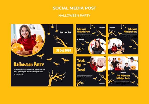 Social-media-post-vorlage für halloween-partys
