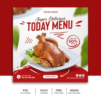 Social media post vorlage für restaurant food menu special delicious