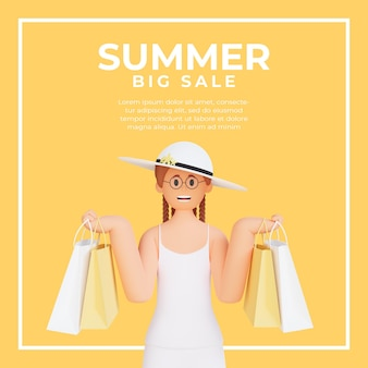 Social-media-post-vorlage mit 3d weiblicher figur, die einkaufstasche für sommerverkauf hält Premium PSD