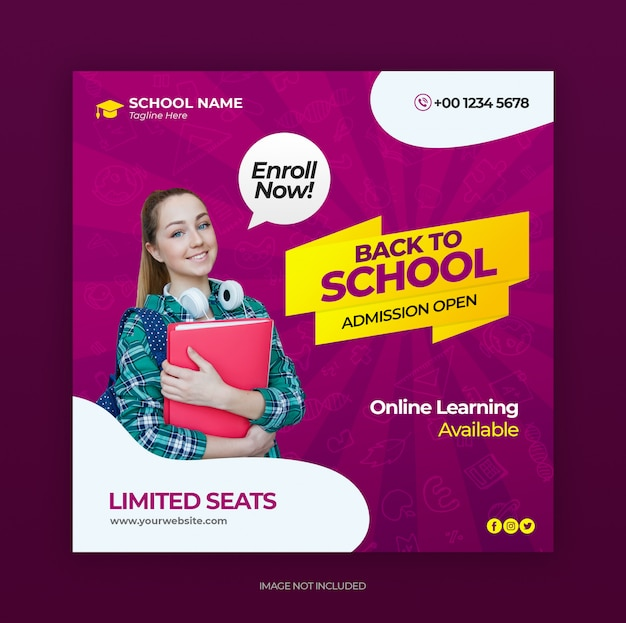 Social media post vorlage mit back to school zulassung banner