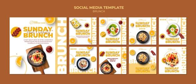 Social media post vorlage mit brunch-thema