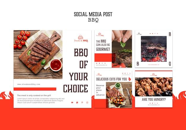 Social media post vorlage mit grill