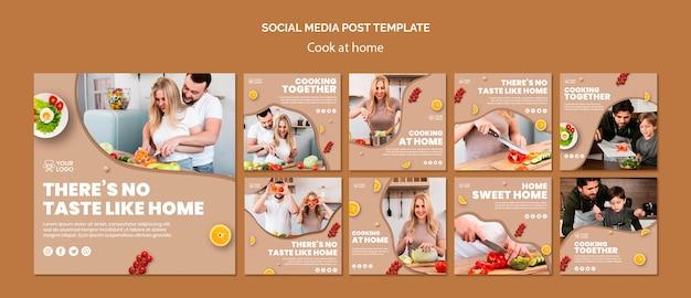 Social media post vorlage mit kochen