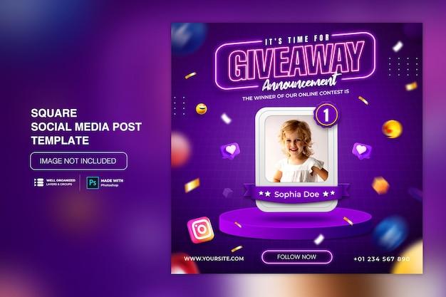 Social-media-post-vorlage mit werbegeschenk für instagram facebook