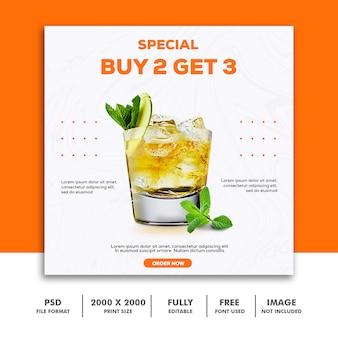 Social media postkarte instagram, essen elegantes luxusgetränk orange