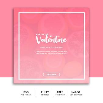 Social media postkarte instagram, lebensmittel-valentinsgrußrosa