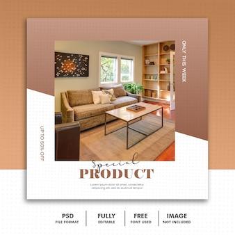 Social media postkarte instagram, möbeldekorations-special