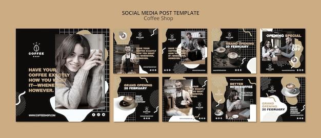 Social media-schablonenkonzept für kaffeestube