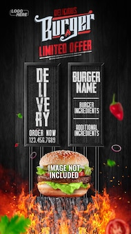Social media stories delicious burger limited delivery jetzt bestellen