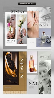 Social media story zum thema kosmetik und mode