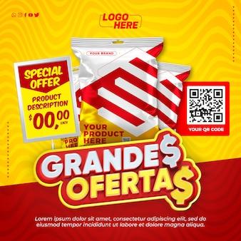 Social media supermarket super bietet vorlage zum einfügen ihres produkts in brasilien