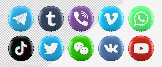 Social-media-symbole des 3d-ballons eingestellt