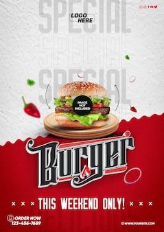 Social media template a4 special burger nur dieses wochenende