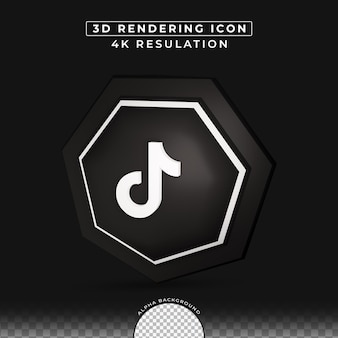 Social media tiktok 3d button-rendering