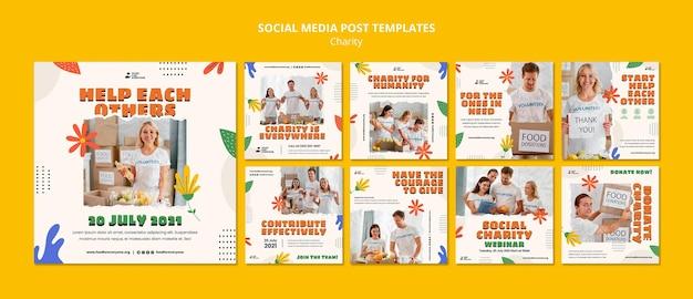 Social-media-vorlage für das design von wohltätigkeitsorganisationen