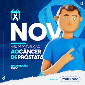 Social-media-vorlage im portugiesischen blauen novembermonat der prostatakrebsprävention
