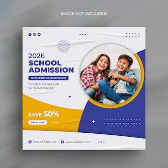 Social-media-webbanner für den eintritt in die schule für kinder und vorlage für instagram-bannerpost