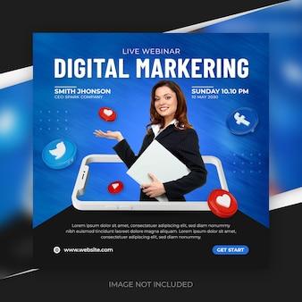 Social-media-werbung für digitales marketing für instagram-post-vorlage
