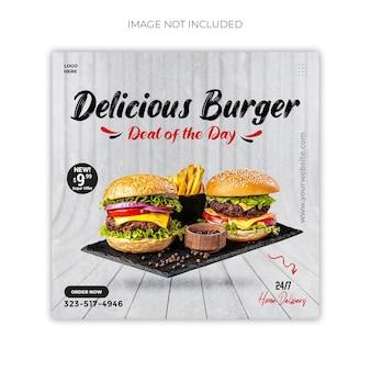 Social-media-werbung für fast food und instagram-post-design premium psd