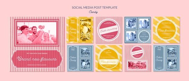 Social-media-werbung für süßwarenladen