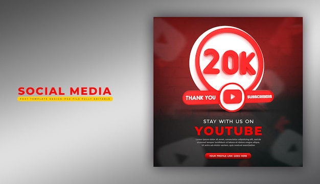 Social media youtube app-symbol in 3d-rendering
