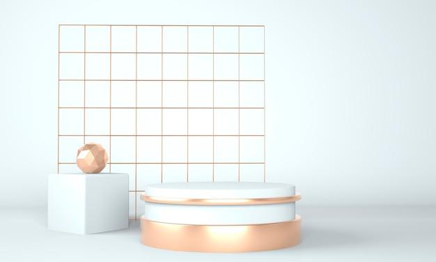 Sockelplattformdesign in 3d-rendering mit geometrischen formen