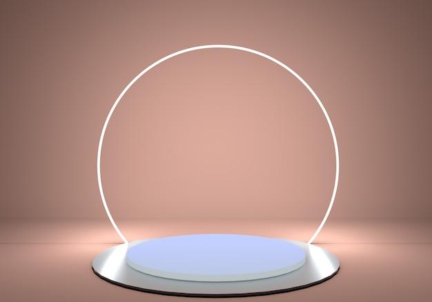 Sockelzylinderplattform mit glänzendem metallpodest und rundem neonrahmen