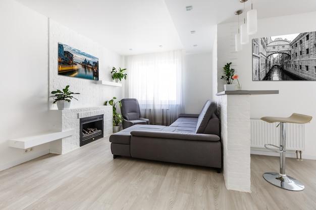 Sofa, lampe, pflanze und tisch im innenraum.