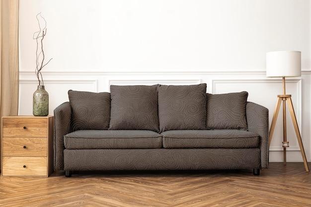 Sofa mockup psd möbel für wohnzimmer im skandinavischen einrichtungsstil