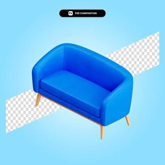 Sofa-stuhl 3d-render-darstellung isoliert