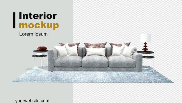 Sofa- und schreibtischmodell in 3d-darstellung