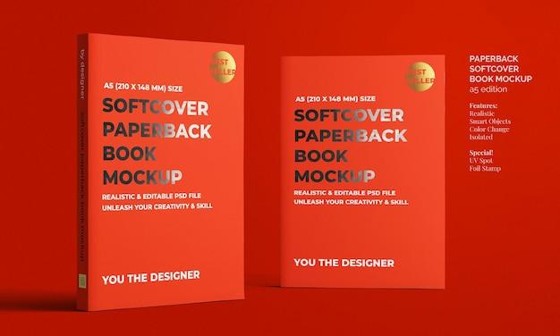 Softcover taschenbuch a5 buch mit folienstempel und uv-spotprint-modell