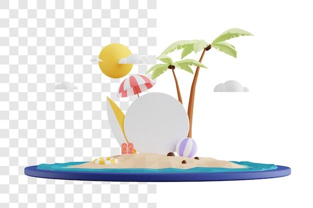 Sommer 3d illustrationskonzept mit verkaufsförderungsbrett